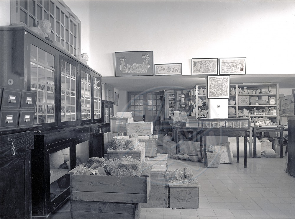 The Archaeological Collections Hall before the move to the Museum building (1930's).  The Hebrew University Photo Archives.